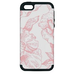Vintage Pink Floral Apple Iphone 5 Hardshell Case (pc+silicone) by 8fugoso