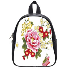 Butterfly Flowers Rose School Bag (small) by Jojostore
