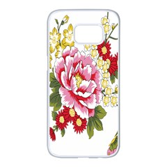 Butterfly Flowers Rose Samsung Galaxy S7 Edge White Seamless Case
