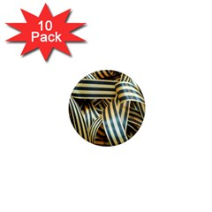 Ribbons Black Yellow 1  Mini Magnet (10 Pack)  by Jojostore