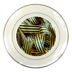 Ribbons Black Yellow Porcelain Plates by Jojostore