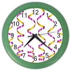 Tape Birthday Ribbon Party Yellow Purple Color Wall Clocks by Jojostore