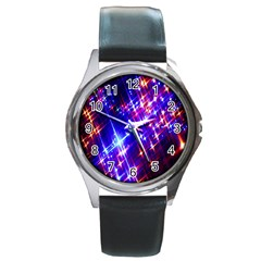 Star Light Space Planet Rainbow Sky Blue Red Purple Round Metal Watch by Jojostore