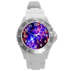 Star Light Space Planet Rainbow Sky Blue Red Purple Round Plastic Sport Watch (l) by Jojostore