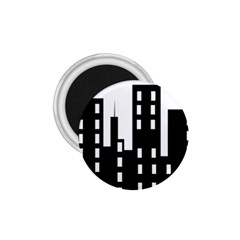 Tower City Town Building Black 1 75  Magnets by Jojostore