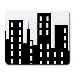Tower City Town Building Black Large Mousepads by Jojostore