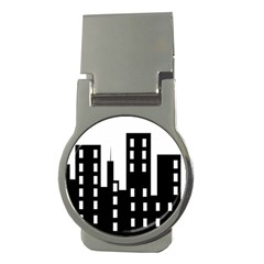 Tower City Town Building Black Money Clips (round)  by Jojostore