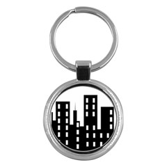Tower City Town Building Black Key Chains (round)  by Jojostore
