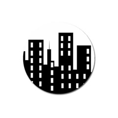 Tower City Town Building Black Magnet 3  (round) by Jojostore