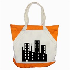 Tower City Town Building Black Accent Tote Bag by Jojostore