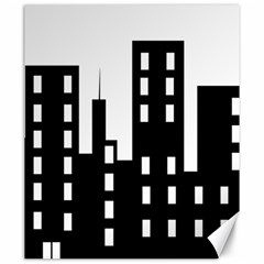 Tower City Town Building Black Canvas 20  X 24   by Jojostore