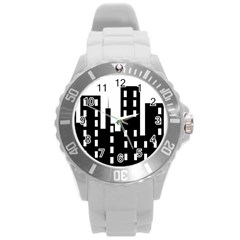 Tower City Town Building Black Round Plastic Sport Watch (l) by Jojostore