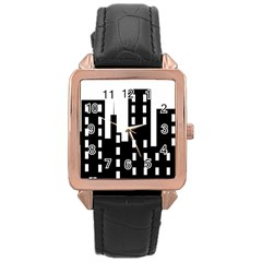 Tower City Town Building Black Rose Gold Leather Watch  by Jojostore