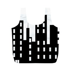 Tower City Town Building Black Full Print Recycle Bags (m)  by Jojostore