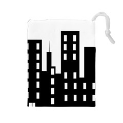 Tower City Town Building Black Drawstring Pouches (large)