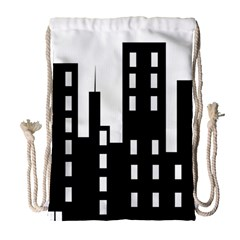 Tower City Town Building Black Drawstring Bag (large) by Jojostore