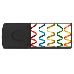 Tape Birthday Ribbon Party Yellow Red Blue Green Gold Rainbow Rectangular Usb Flash Drive