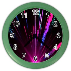 Happy New Year City Semmes Fireworks Rainbow Red Blue Purple Sky Color Wall Clocks by Jojostore