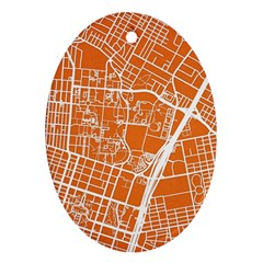 Texsas New York Map Art City Line Street Oval Ornament (two Sides) by Jojostore