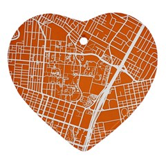 Texsas New York Map Art City Line Street Heart Ornament (two Sides) by Jojostore