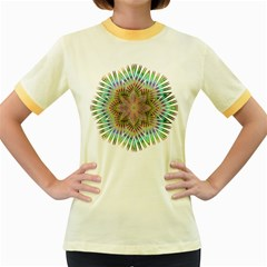 Star Flower Glass Sexy Chromatic Symmetric Women s Fitted Ringer T Shirts