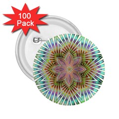 Star Flower Glass Sexy Chromatic Symmetric 2 25  Buttons (100 Pack)
