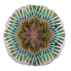 Star Flower Glass Sexy Chromatic Symmetric Large 18  Premium Flano Round Cushions