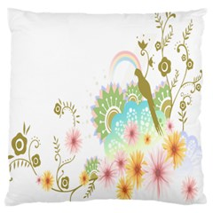 Wreaths Sexy Flower Star Leaf Rose Sunflower Bird Summer Large Flano Cushion Case (two Sides) by Mariart