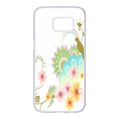 Wreaths Sexy Flower Star Leaf Rose Sunflower Bird Summer Samsung Galaxy S7 Edge White Seamless Case by Mariart