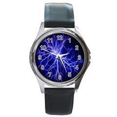 Blue Sky Light Space Round Metal Watch by Mariart