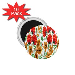 Flower Floral Red Yellow Leaf Green Sexy Summer 1 75  Magnets (10 Pack)