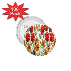 Flower Floral Red Yellow Leaf Green Sexy Summer 1 75  Buttons (100 Pack)