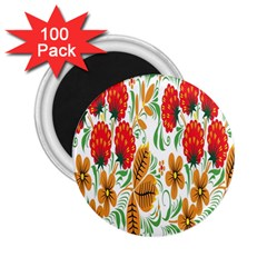 Flower Floral Red Yellow Leaf Green Sexy Summer 2 25  Magnets (100 Pack)  by Mariart