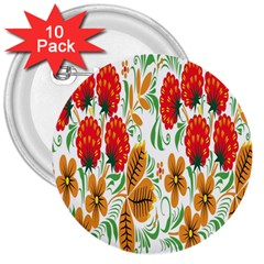 Flower Floral Red Yellow Leaf Green Sexy Summer 3  Buttons (10 Pack)