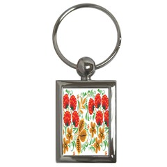 Flower Floral Red Yellow Leaf Green Sexy Summer Key Chains (rectangle)  by Mariart