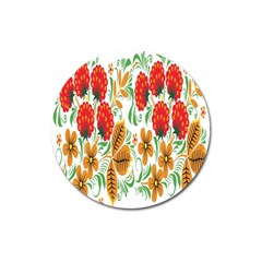 Flower Floral Red Yellow Leaf Green Sexy Summer Magnet 3  (round) by Mariart