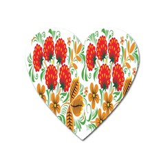 Flower Floral Red Yellow Leaf Green Sexy Summer Heart Magnet by Mariart