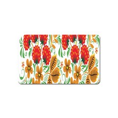 Flower Floral Red Yellow Leaf Green Sexy Summer Magnet (name Card)
