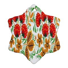 Flower Floral Red Yellow Leaf Green Sexy Summer Ornament (snowflake)
