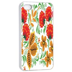 Flower Floral Red Yellow Leaf Green Sexy Summer Apple Iphone 4/4s Seamless Case (white) by Mariart