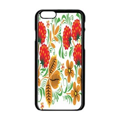 Flower Floral Red Yellow Leaf Green Sexy Summer Apple Iphone 6/6s Black Enamel Case by Mariart