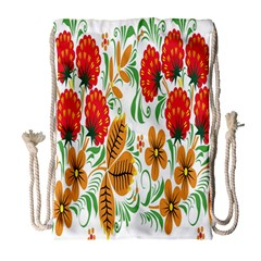 Flower Floral Red Yellow Leaf Green Sexy Summer Drawstring Bag (large) by Mariart