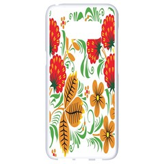 Flower Floral Red Yellow Leaf Green Sexy Summer Samsung Galaxy S8 White Seamless Case by Mariart