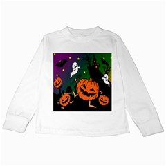 Happy Halloween Kids Long Sleeve T Shirts by Mariart