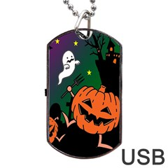 Happy Halloween Dog Tag Usb Flash (one Side) by Mariart