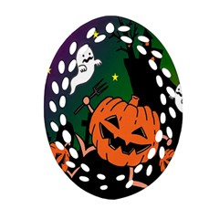 Happy Halloween Ornament (oval Filigree) by Mariart