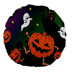 Happy Halloween Large 18  Premium Round Cushions by Mariart