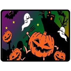 Happy Halloween Double Sided Fleece Blanket (large)  by Mariart