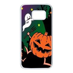 Happy Halloween Samsung Galaxy S7 White Seamless Case by Mariart