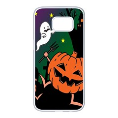 Happy Halloween Samsung Galaxy S7 Edge White Seamless Case by Mariart